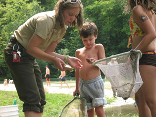 Children discover the life of streams at Whitewater State Park.