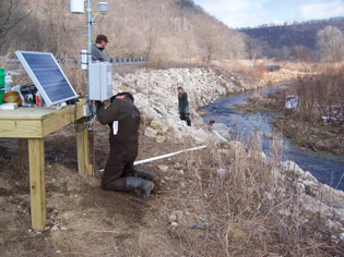 Winona State University students monitor a watershed stream.